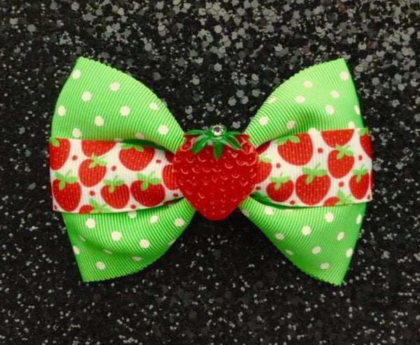 Image of SALE - Strawberry Dots Delight Hair Bow