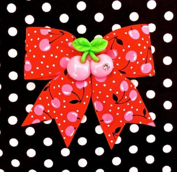 Image of SALE - Cherry Explosion Sparkle Hair Bow - Red/Pink