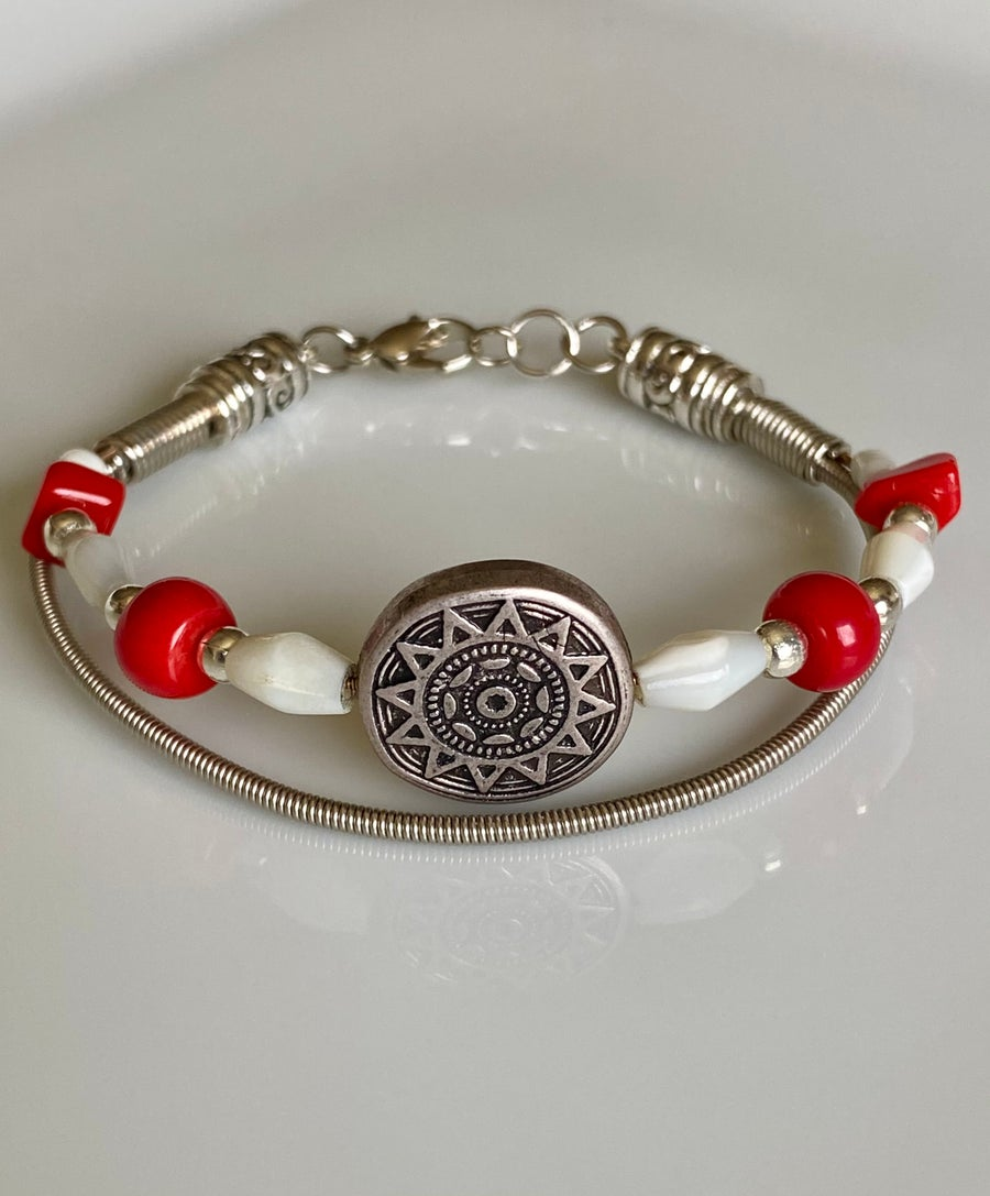 Image of Red Coral Mother Of Pear Bracelet