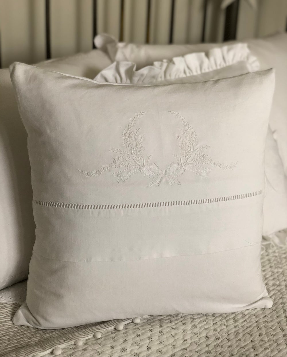 Image of Embroidered Wreath Cushion
