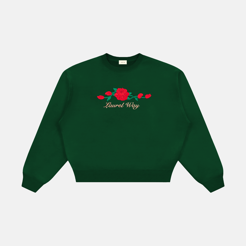 Image of VINTAGE ROSES CREWNECK (HUNTER GREEN)