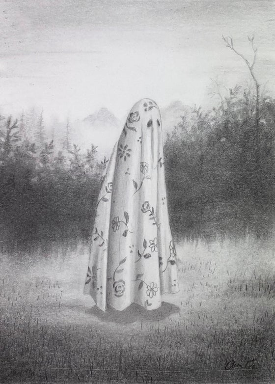 "Image of ""All Dressed Up..."", graphite on paper"