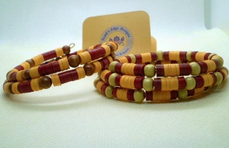 Red & Gold Memory Wire Bracelet Set