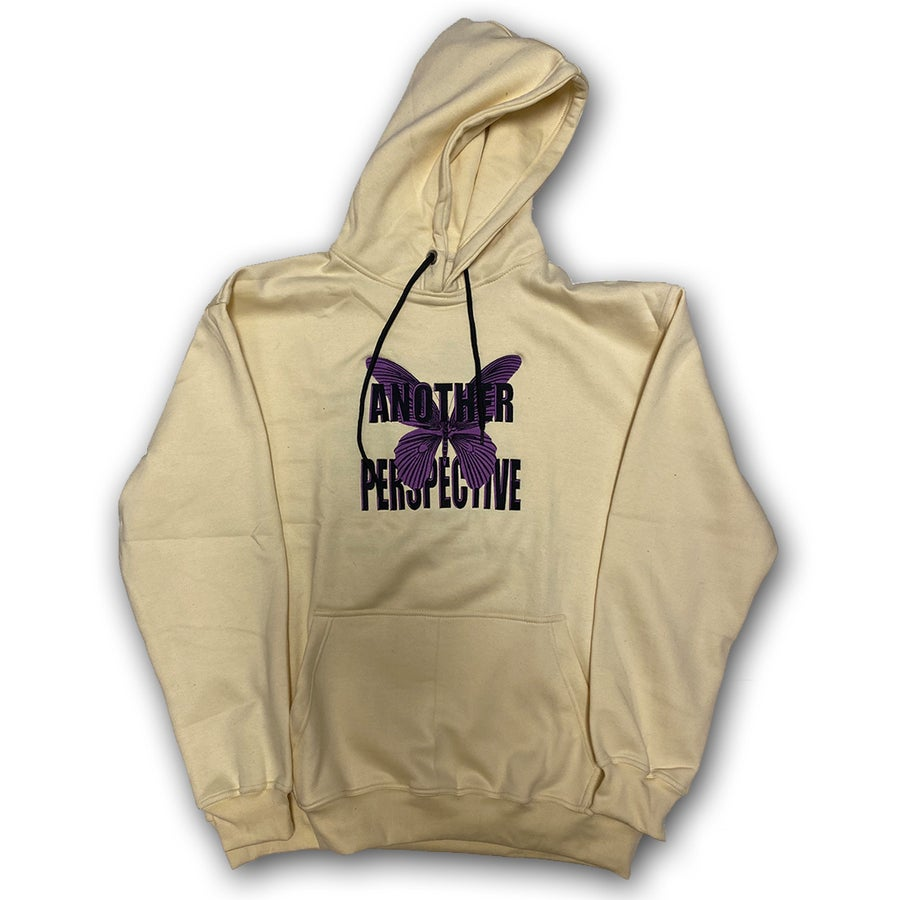 Image of Cremé/Purple Butterfly Hoodie