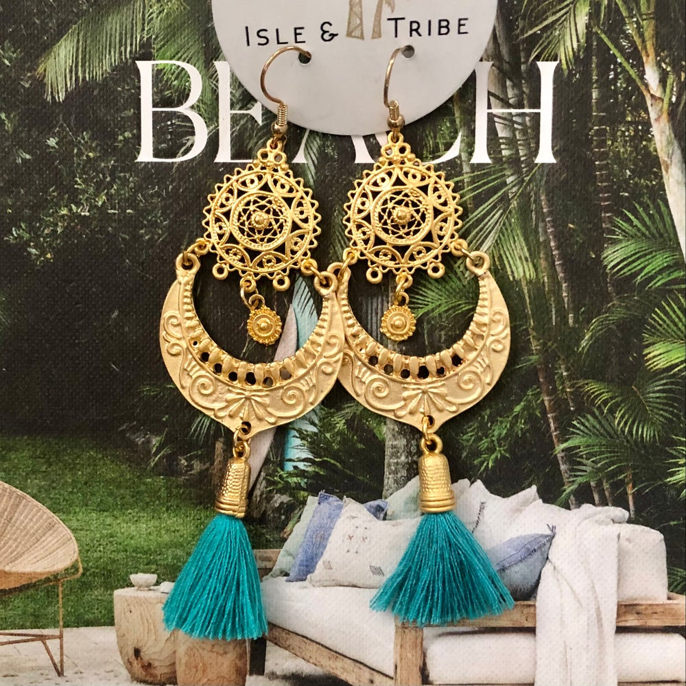 Image of LAST PAIR - Gold Valentina Tassel Earrings - Lagoon
