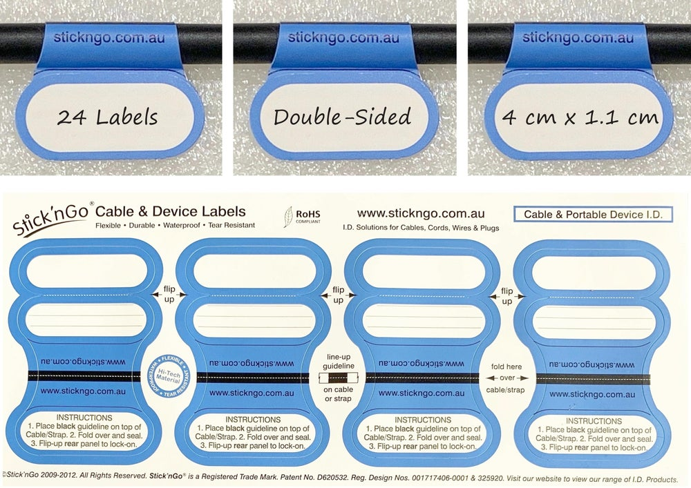 Image of Self-adhesive 'Office Size' Cable Labels - 24 Pack in One Colour