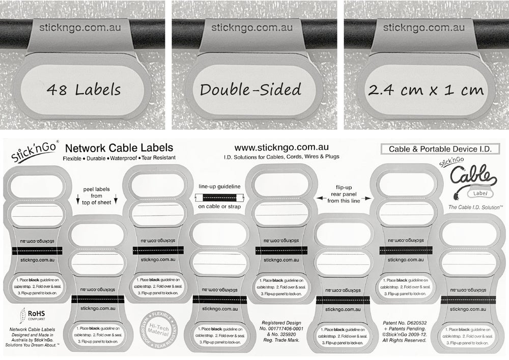 Image of Self-adhesive 'Network Size' Cable Labels - 48 pack in one colour