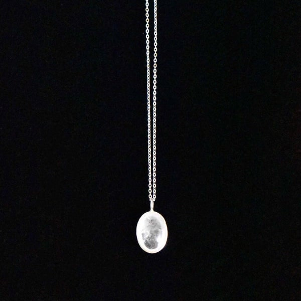 Image of Natural Clear Quartz oval cabochon silver necklace