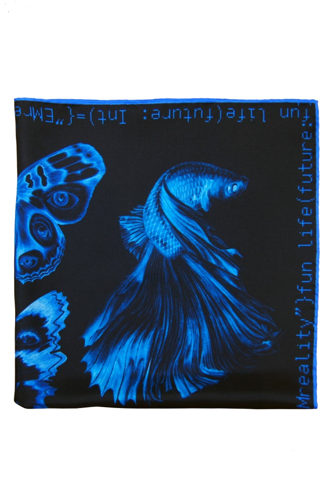 """Image of """"Method Not Allowed"""" Silk Scarf / Blue"""
