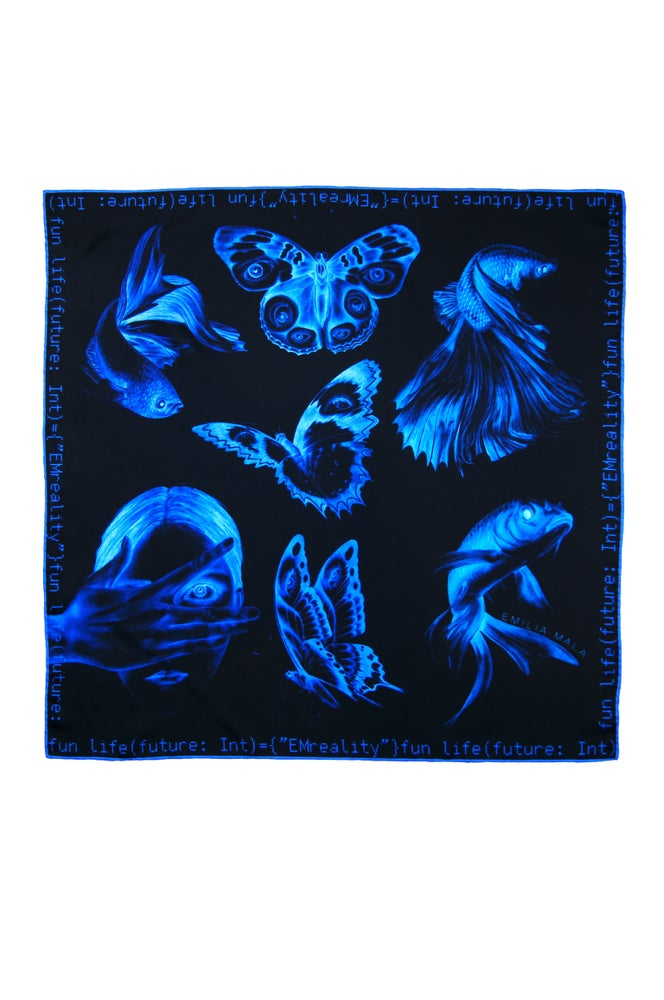 "Image of ""Method Not Allowed"" Silk Scarf / Blue"