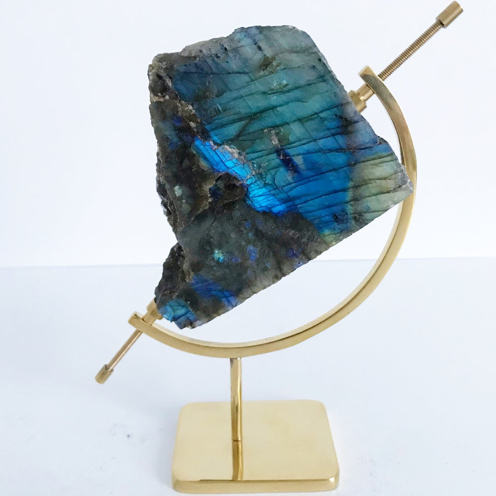 Image of Labradorite no.45 + Brass Arc Stand