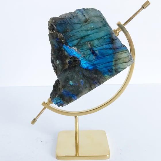 Image of Labradorite no.45 + Brass Arc Stand
