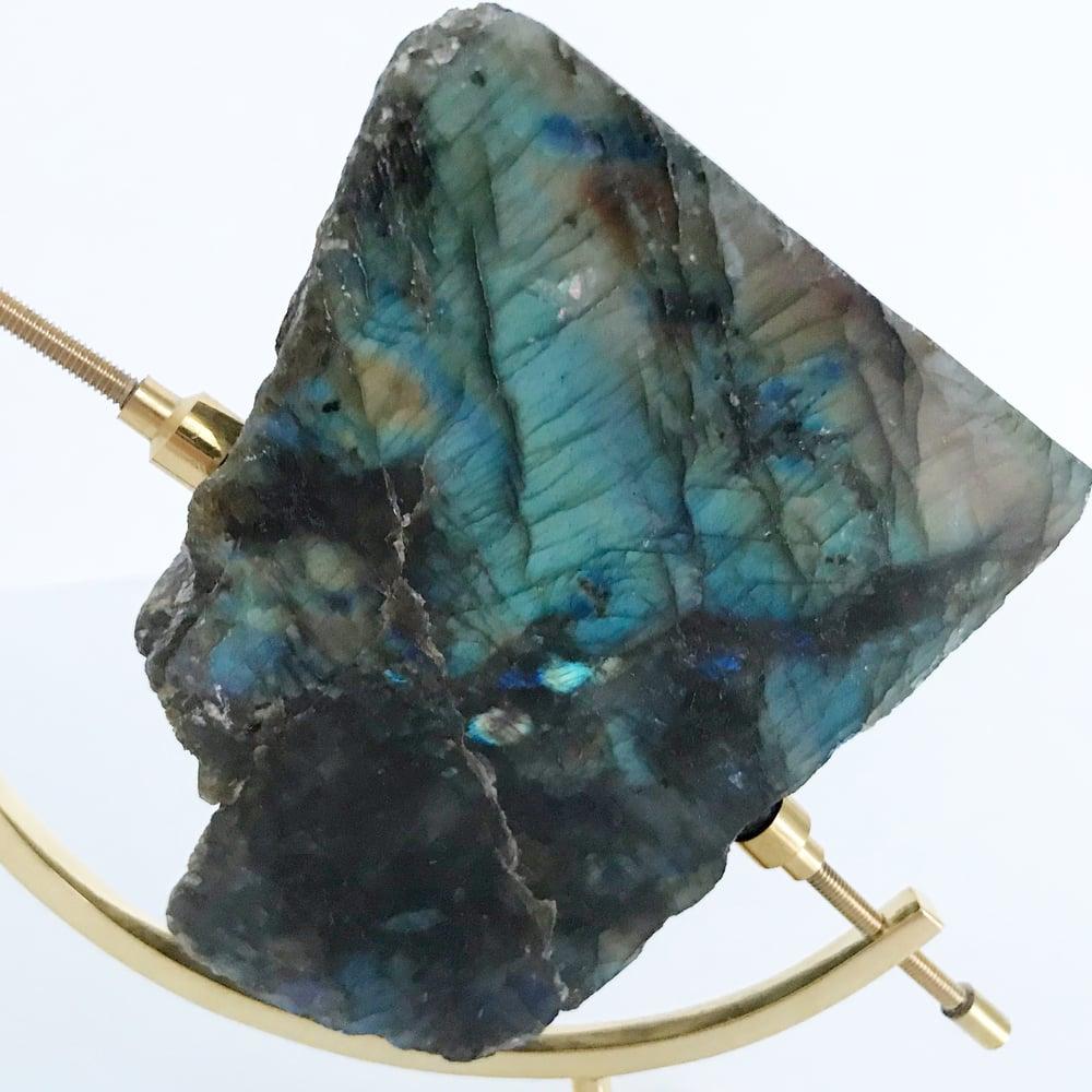 Image of Labradorite no.55 + Brass Arc Stand