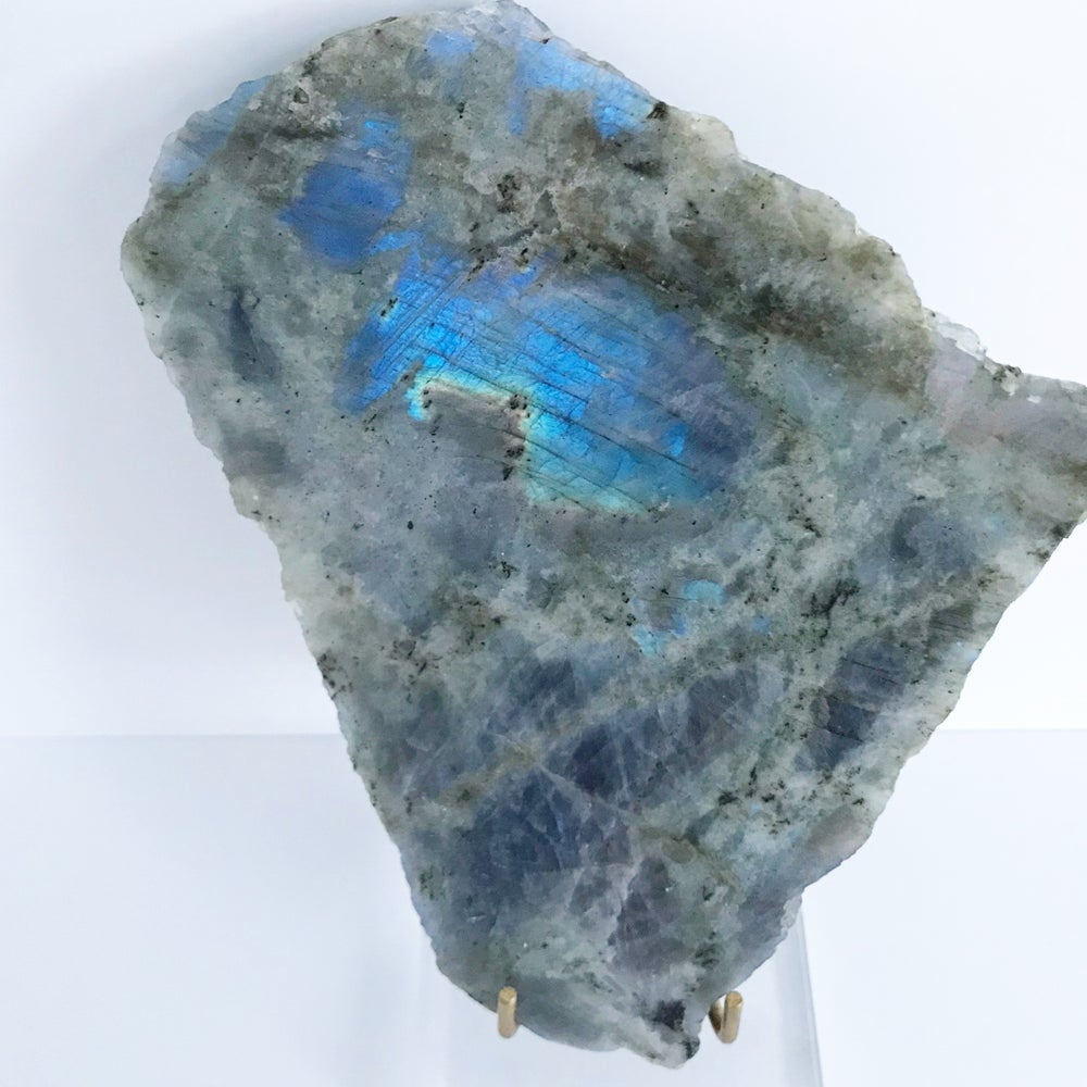 Image of Labradorite no.50 + Lucite and Brass Stand