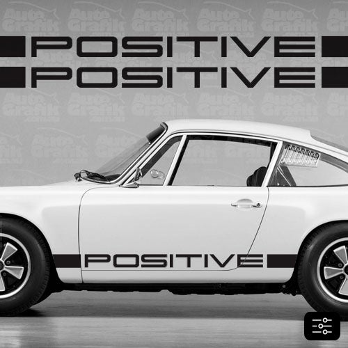 Image of POSITIVE IROC TYPE SIDE SCRIPT DECAL SET - YOUR CUSTOM TEXT