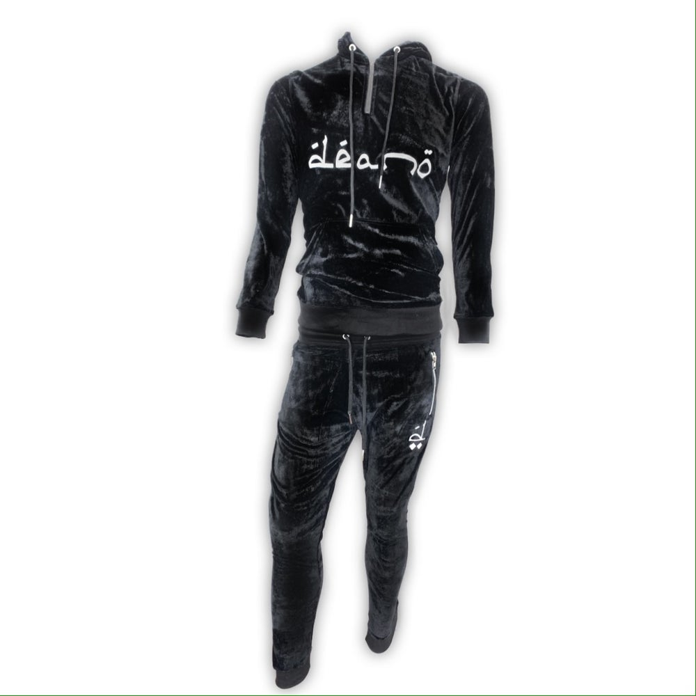 Image of Big Don Velour Sweatsuit Black