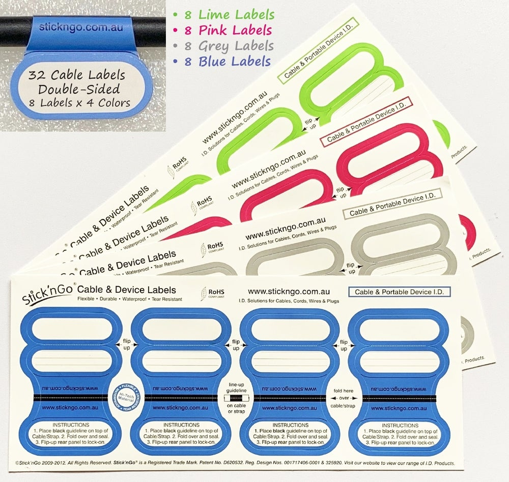 Image of Self-adhesive 'Office Size' Cable Labels - 32 Multicolour Pack