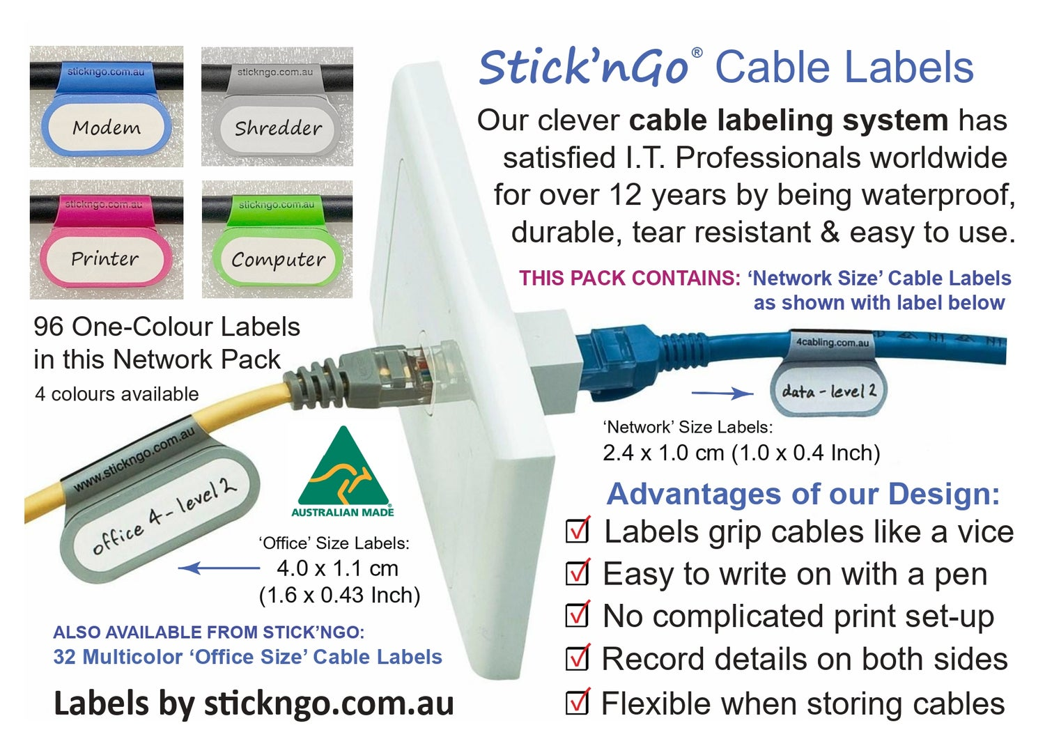 Image of Self-adhesive 'Network Size' Cable Labels -  96 Pack in One Colour