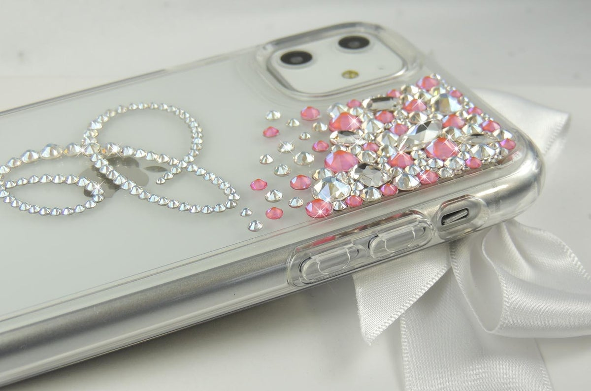 Image of Cascade Pink Moon Jewel iPhone 11 with initial C Reduced to £40 from £65