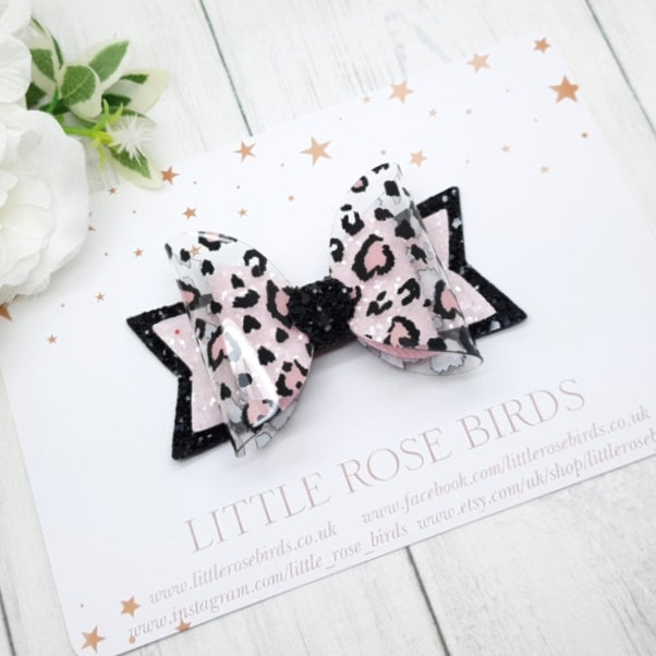 Image of I Heart Leopard Print Bow