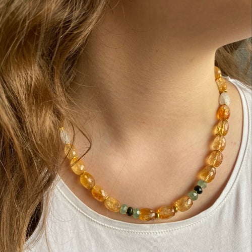 Image of Indian summer beaded necklace- Citrine/moonstone