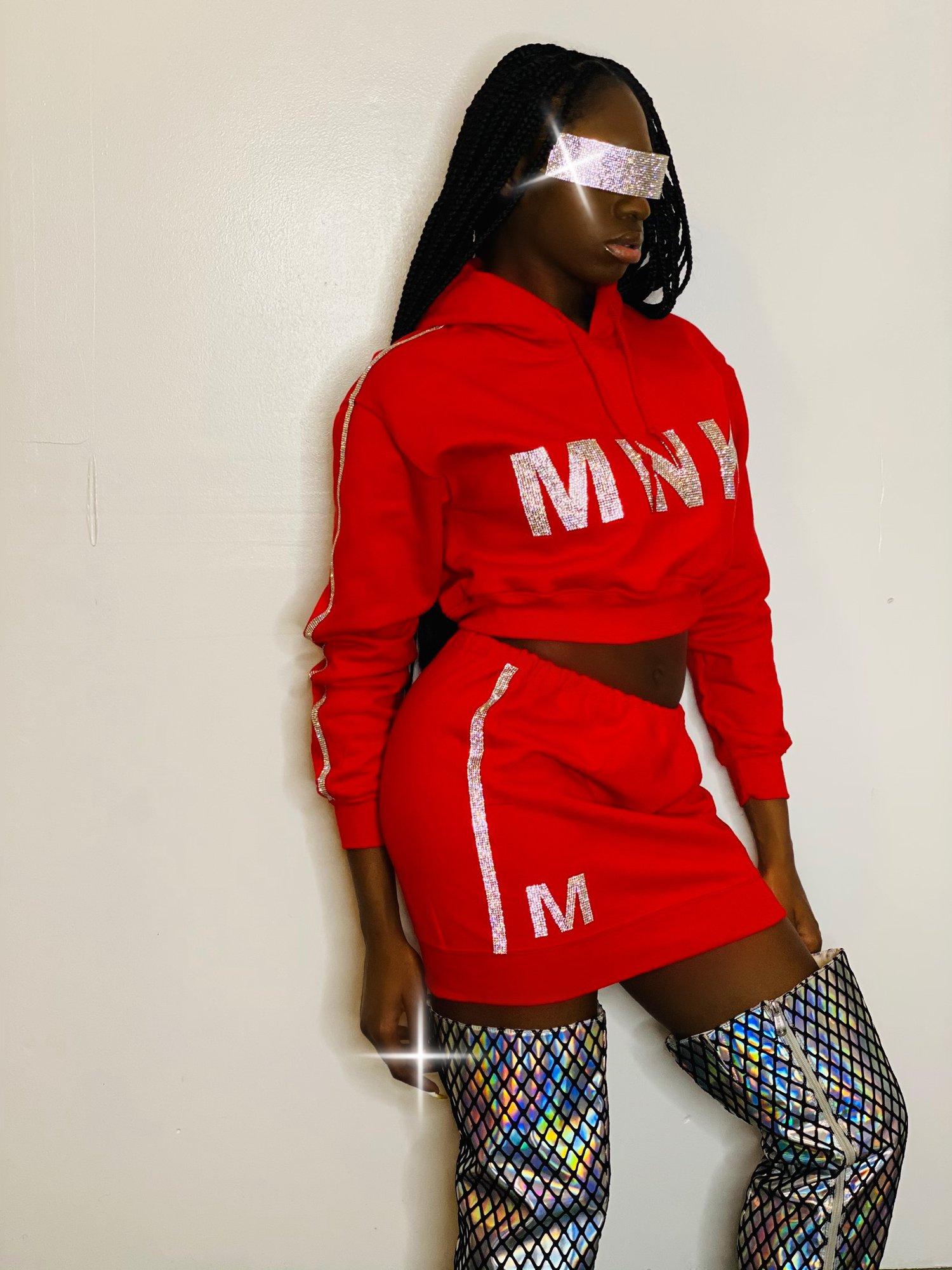 Image of MNK Platinum Sweat Skirt 'Fire Red'