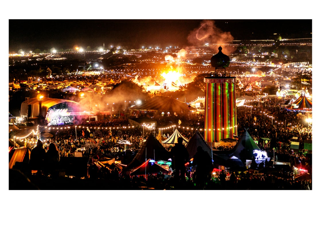 Image of Glastonbury Festival Town At Night (Charity)