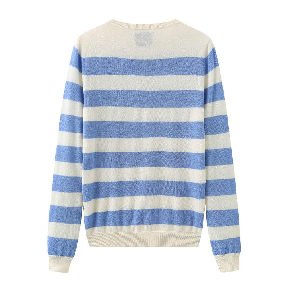 Crew Neck Intarsia Wool and Cashmere Blend Sweater - White/Light Blue