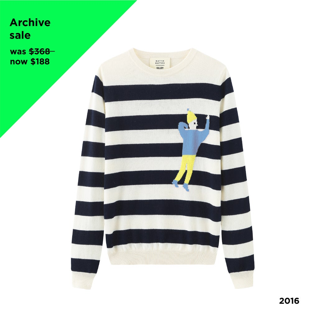 Copy of Crew Neck Intarsia Wool and Cashmere Blend Sweater - White/Black