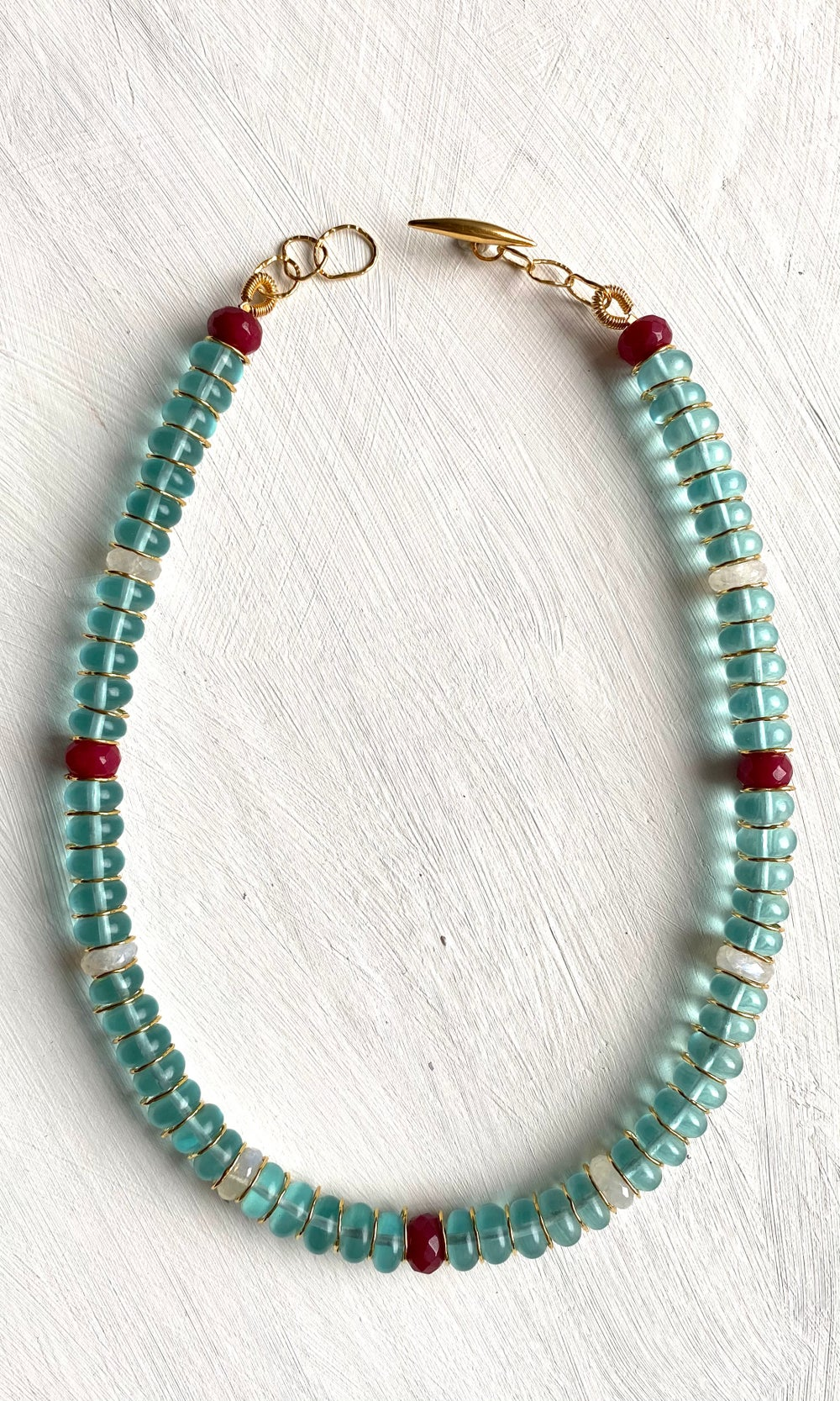 Image of Afiok beaded necklace - Blue Quartz/Moonstone/Rubi Jade