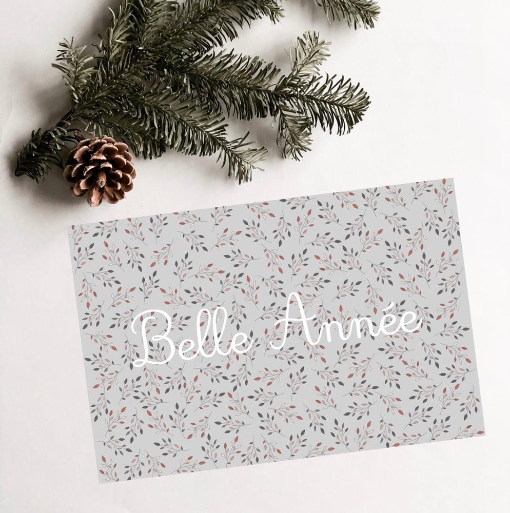 Image of Carte de vœux fleuri Belle Année