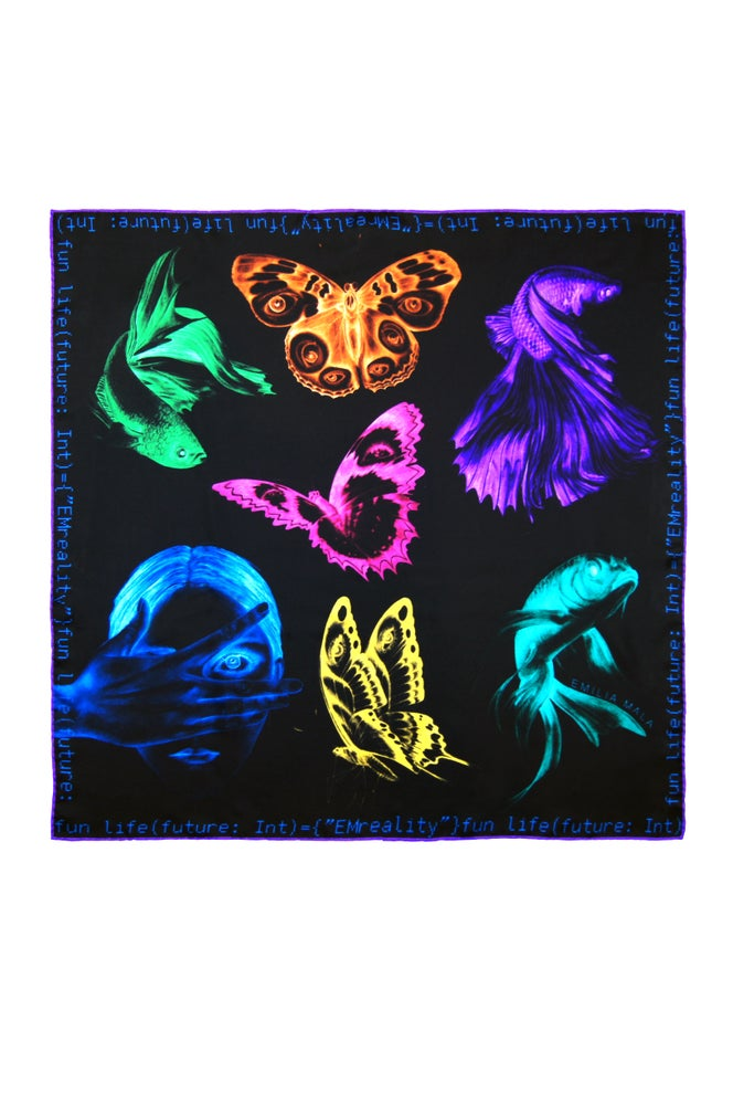 "Image of ""Method Not Allowed"" Silk Scarf / Multi"