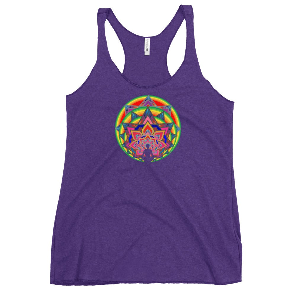 """Image of """"Meditate"""" Next Level Women's Racerback Tank (Purple or Turquoise or Pink)"""