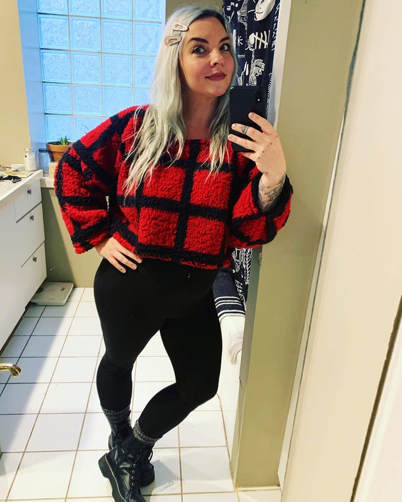 Image of Fuzzy Red Crop Sweater
