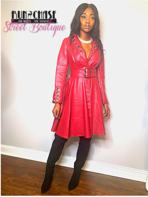 Image of Red Hawt Faux leather Trench dress