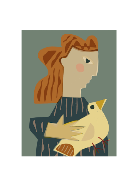 Image of Woman Holding a Dove