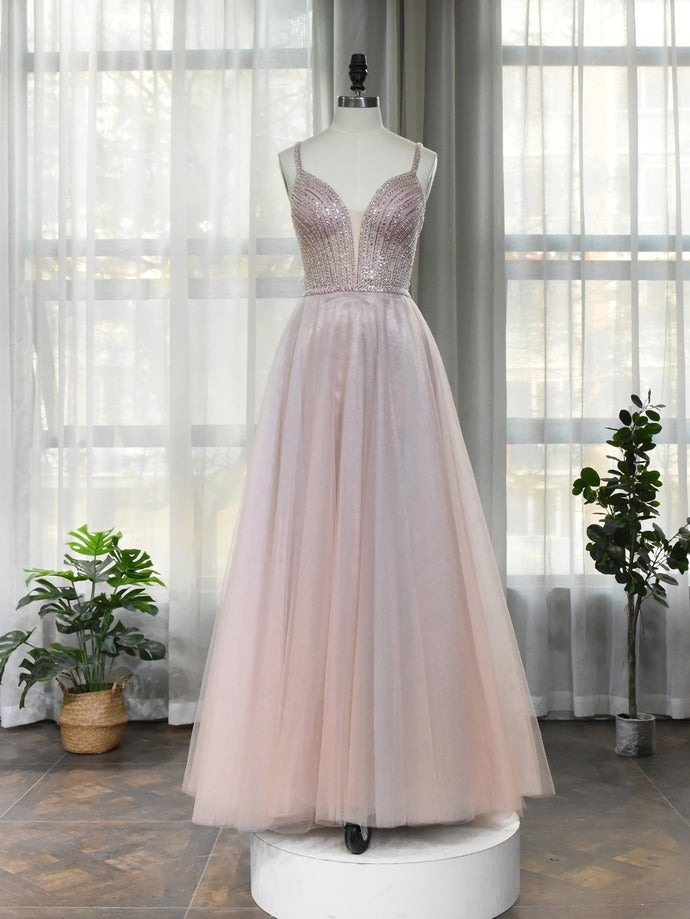 Light Pink Beaded Straps Tulle Floor Length Prom Dress, Beaded Party Dress