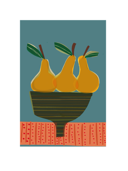 Image of Three Pears in a Striped Bowl