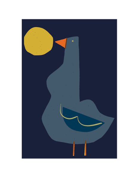 Image of Blue Bird and Moon