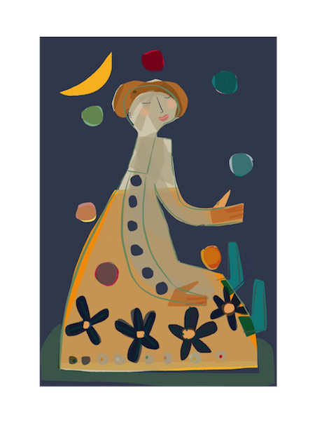 Image of Girl Juggling Under the Moon