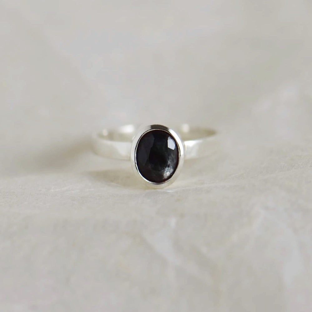 Image of Natural Dark Green Sapphire oval cut wide band silver ring
