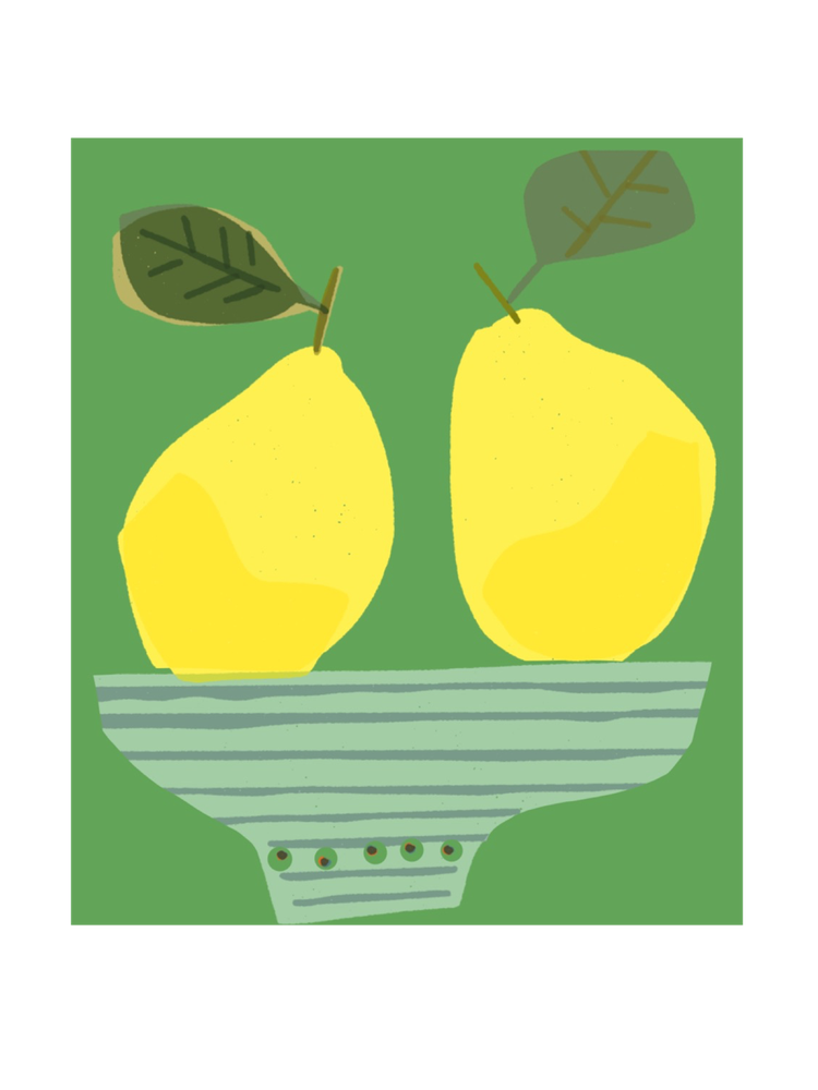 Image of Two Lemons in a Striped Bowl