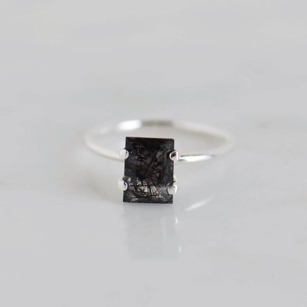 Image of Premium Black Rutilated Quartz (Tourmalined Quartz) rectangular cut 4 claws silver ring