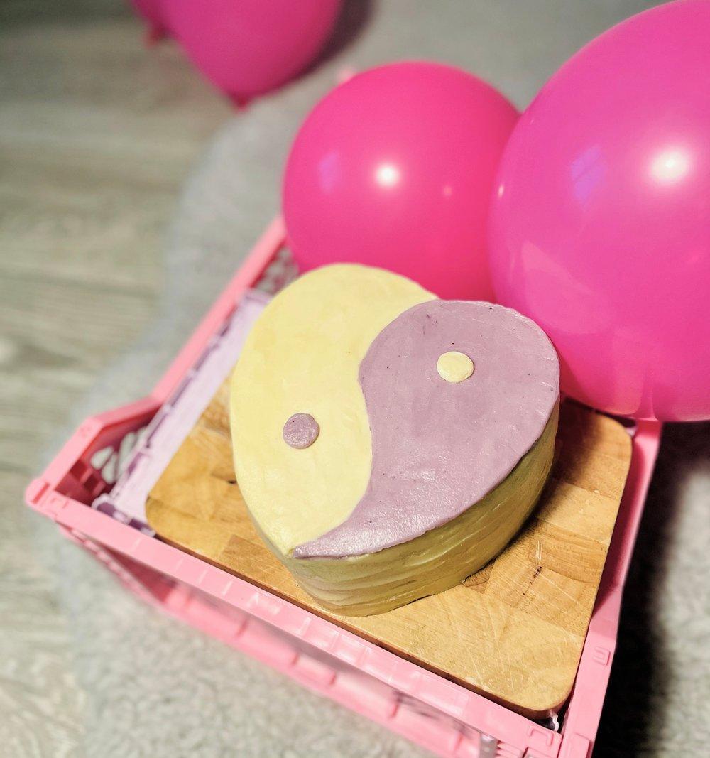 Image of Yin Yang Heart Cake