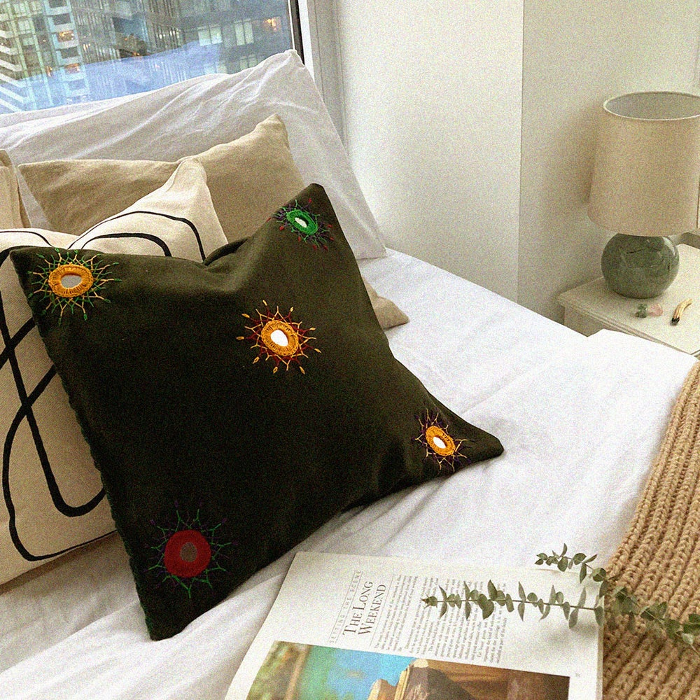 Image of Amma's Hand Embroidered Cushion Cover  роЗро░ро╡рпБ