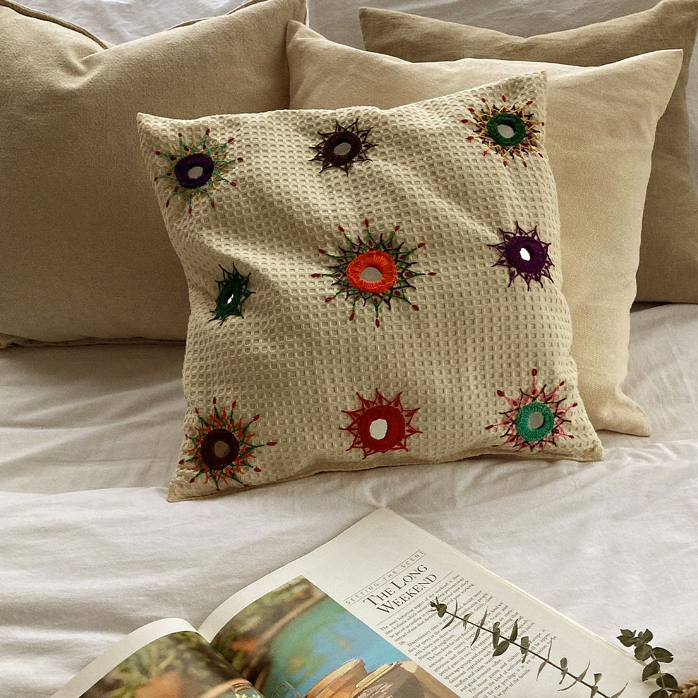 Image of Amma's Hand Embroidered Cushion Cover | роХрпЗро╛ро╡ро┐ро▓рпН