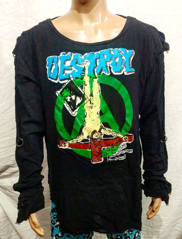 Image of DESTROY classic bondage shirt crucified Jesus full color size Large