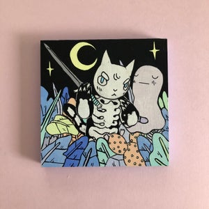 Image of Cat with Sword in Jungle Painting