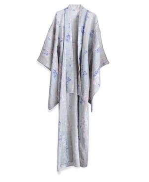 Image of Kimono af hør - grå med lilla blomsterblade