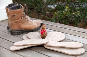 Alpaca Insoles for boots slippers warm feet felted alpaca fiber
